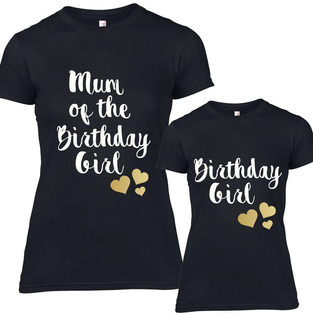 Birthday Girl Matching Mum & Daughter Black Tees (MRK X)