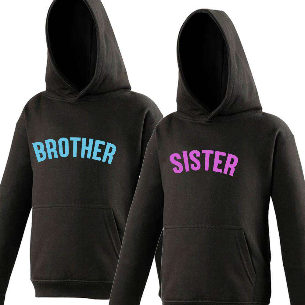 Brother/Sister Black/Neon Matching Hoodies (1-13 Years) (MRK X)