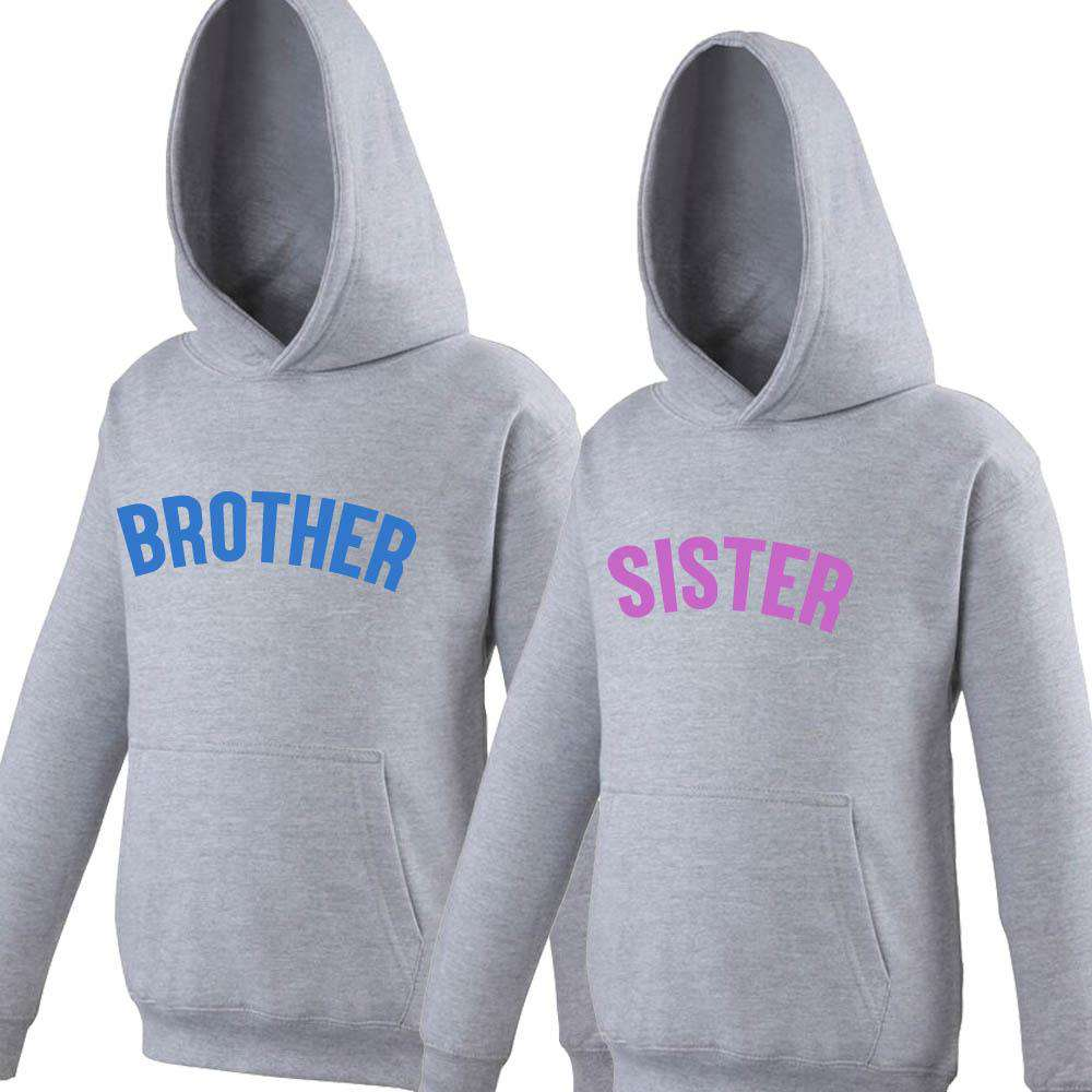 Brother/Sister Grey/Neon Matching Hoodies (1-13 Years) (MRK X)