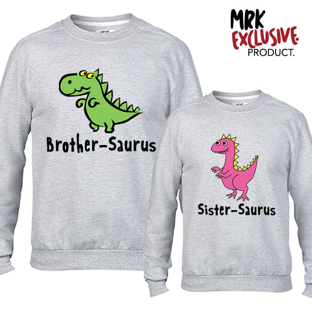 Brother & Sister-Saurus Matching Grey Sweaters (MRK X)
