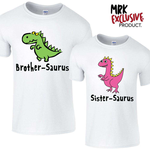 Brother & Sister-Saurus Matching White Tees (MRK X)