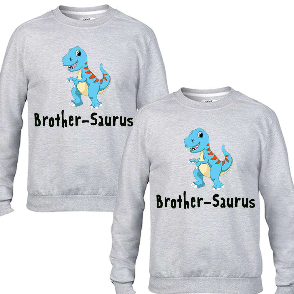 Brother-Saurus Brother Matching Grey Sweaters (MRK X)