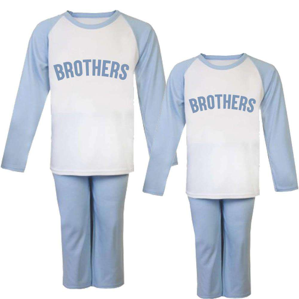 Brothers Raglan Sky Blue Matching Pyjamas (6m-6 Years) (MRK X)