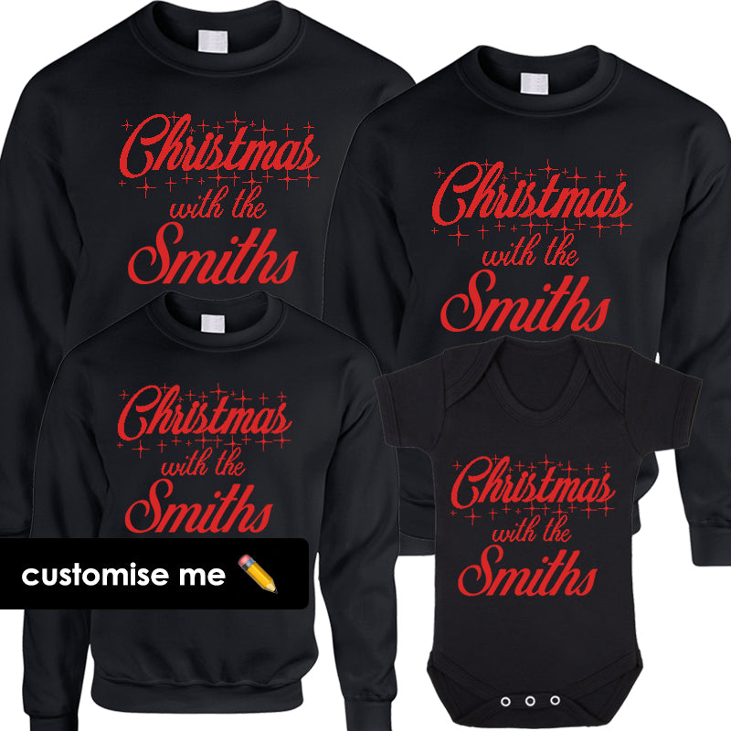 Personalised Christmas With The Family Matching Sweatshirts/Bodysuit Black (MRK X)