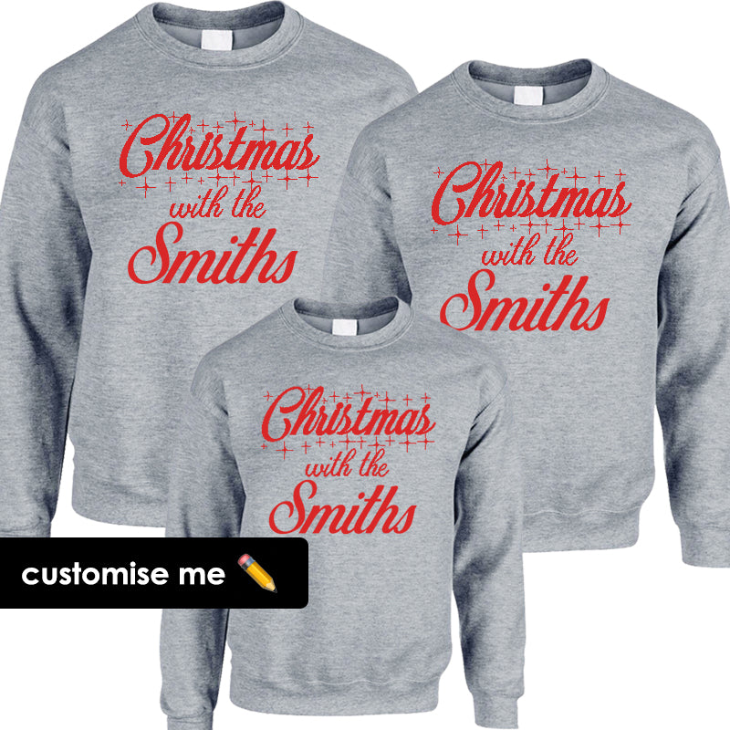 Personalised Christmas With The Family Matching Sweatshirts Heather Grey (MRK X)