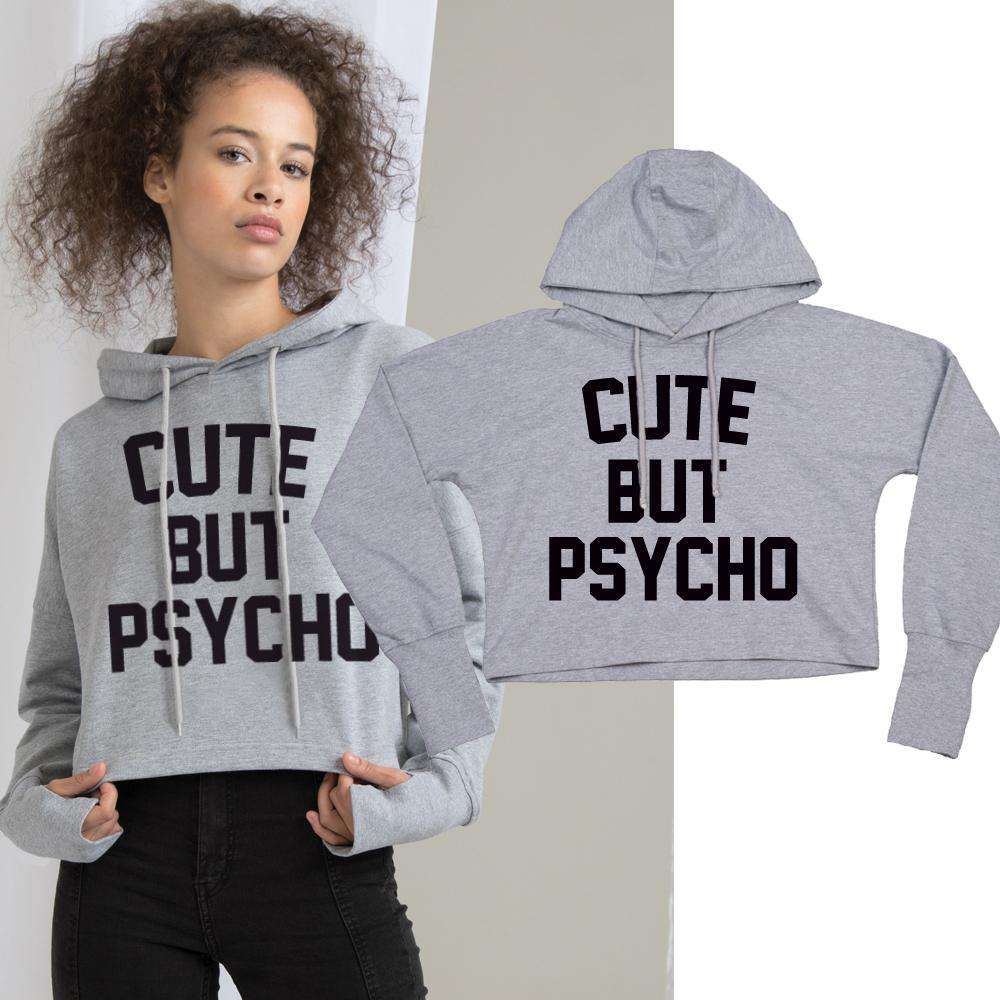 Cute But Psycho Cropped Hoodie (MRK X)