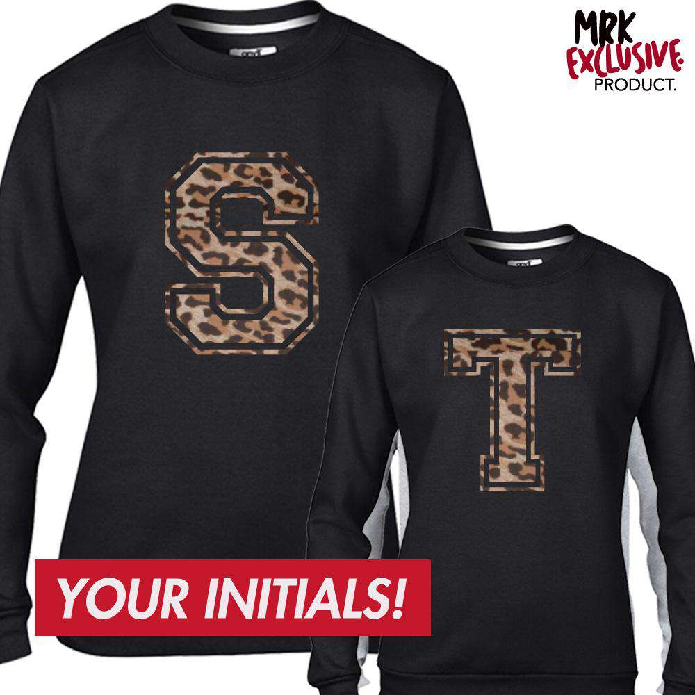Personalised Leopard Mum & Kid Initial Matching Black Sweaters (MRK X)