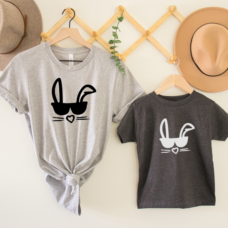 Cool Bunny Matching T-Shirts - Charcoal/Heather Grey
