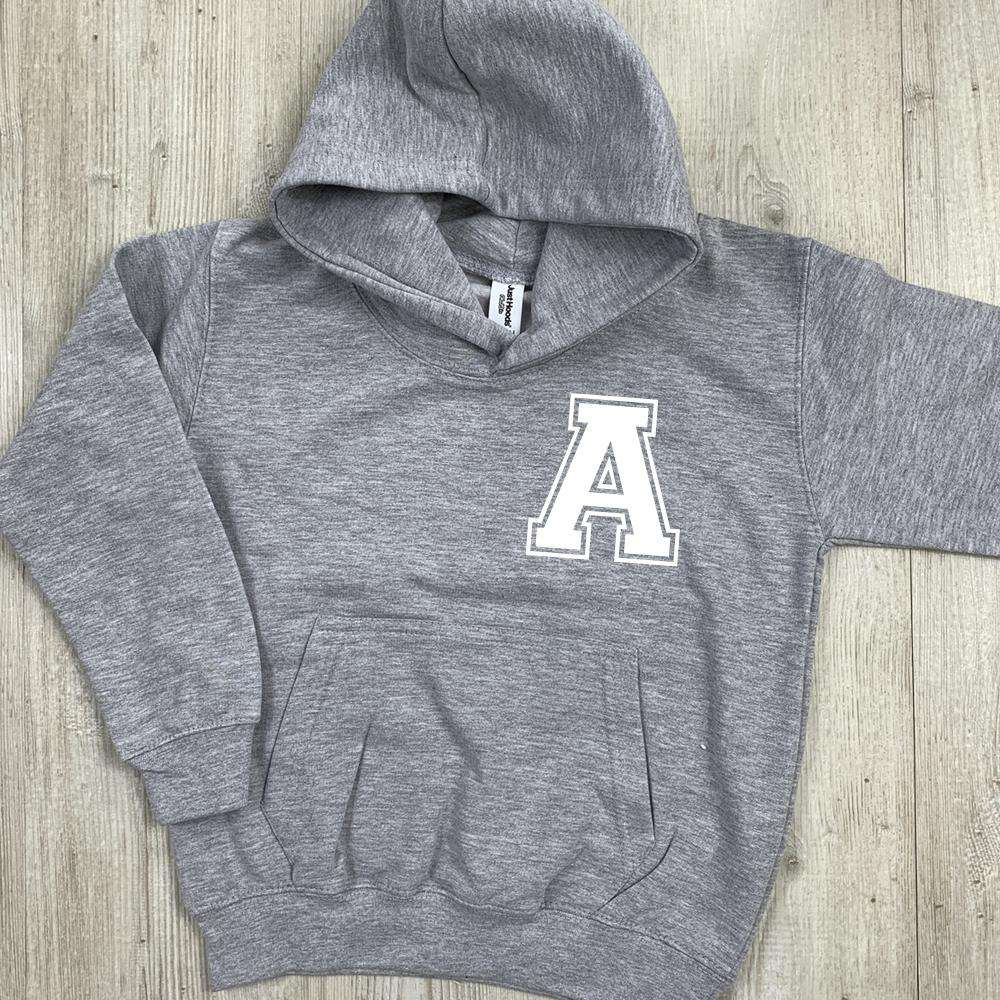 Personalised Initial Hoodie GREY - Choose Text Colour (MRK X)
