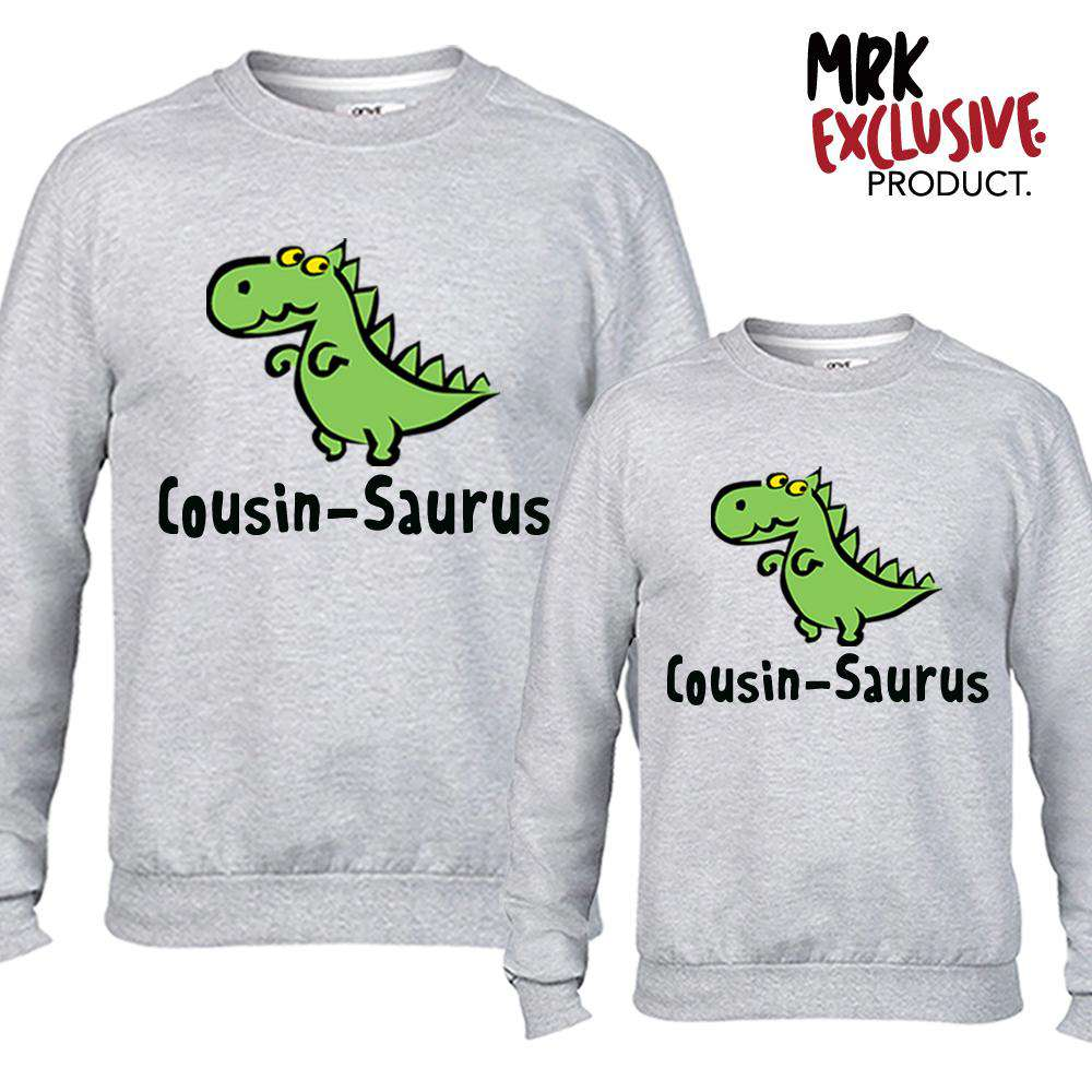 Cousin-Saurus Matching Grey Sweaters (MRK X)