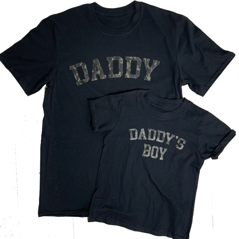 Daddy & Daddy's Boy College Camo Matching Black T-Shirts