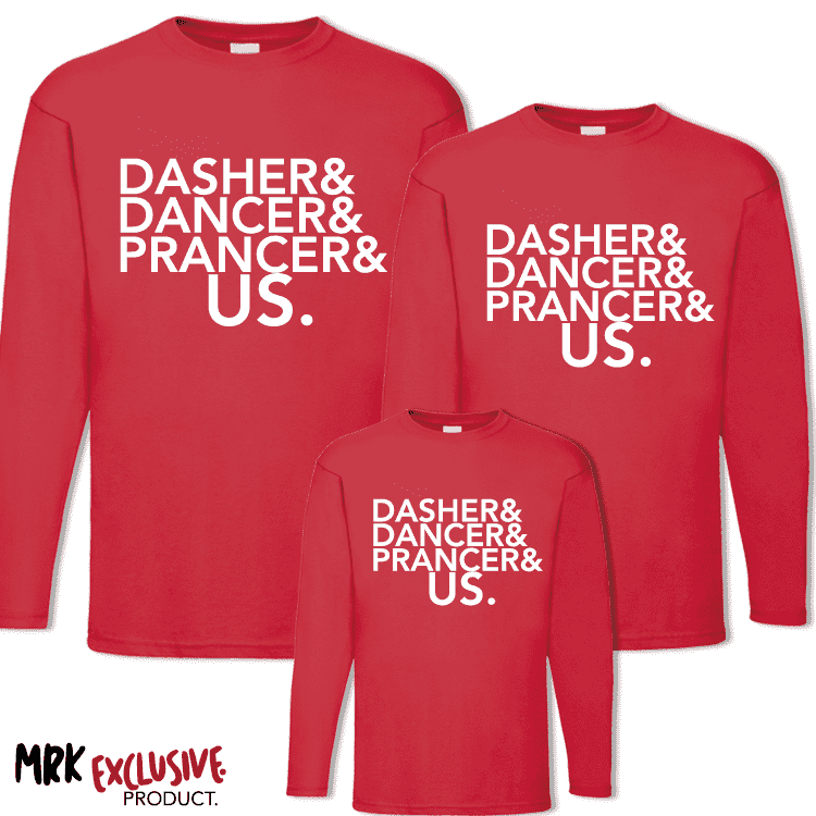 Dasher, Dancer & US Matching L/S Tee's - Red (MRK X)