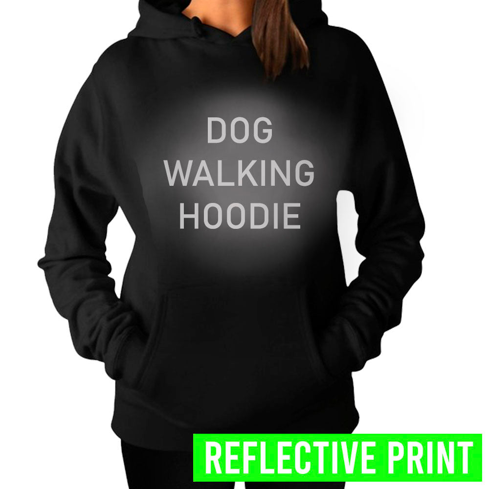 Reflective Print Dog Walking Hoodie - Black (MRK X)
