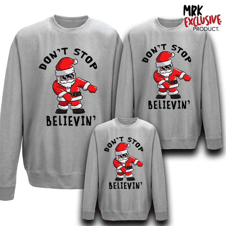 Don't Stop Believing Family Matching Crew Sweats - Grey (MRK X)