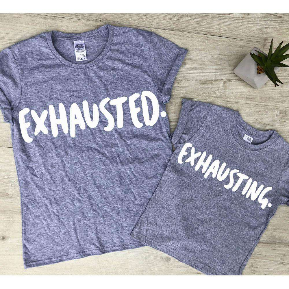 Exhausted/Exhausting Mum & Kid Matching Grey Tees (MRK X)
