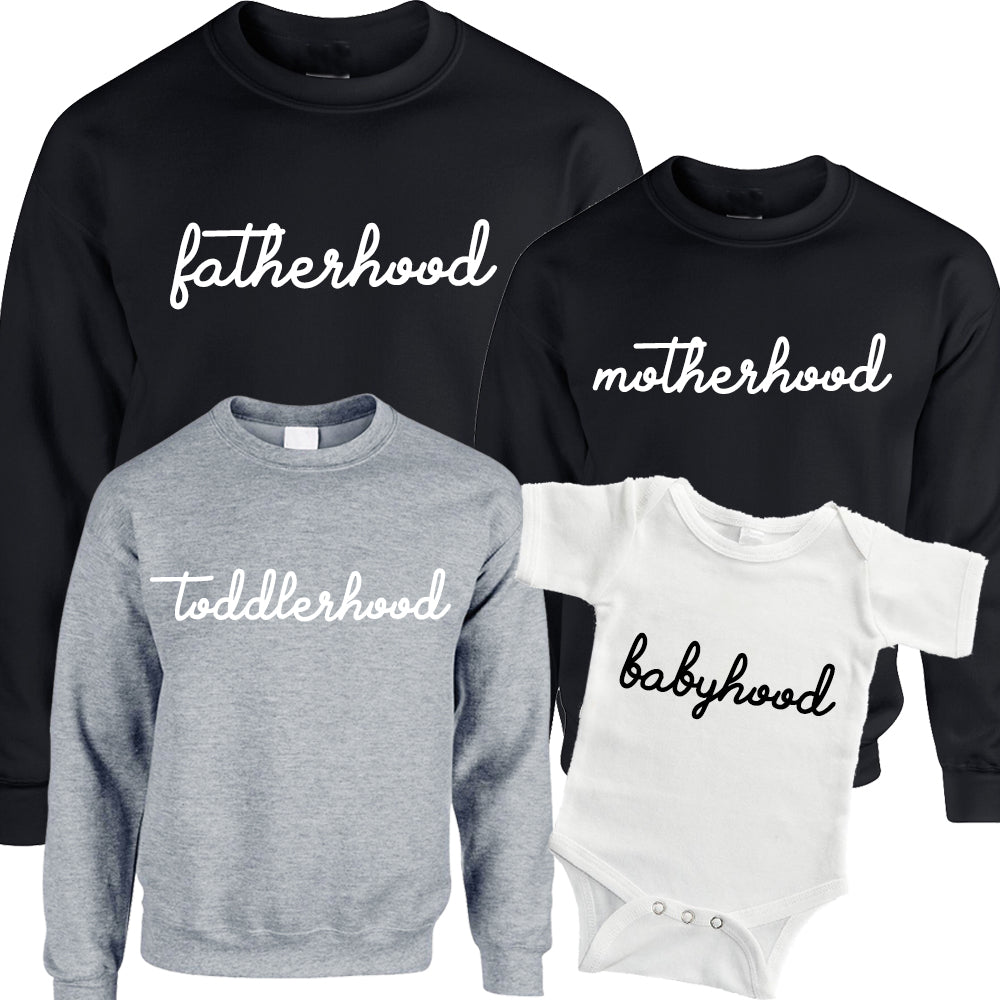 Mother/Father/Toddler/Babyhood Matching Sweatshirts & Bodysuits (MRK X)