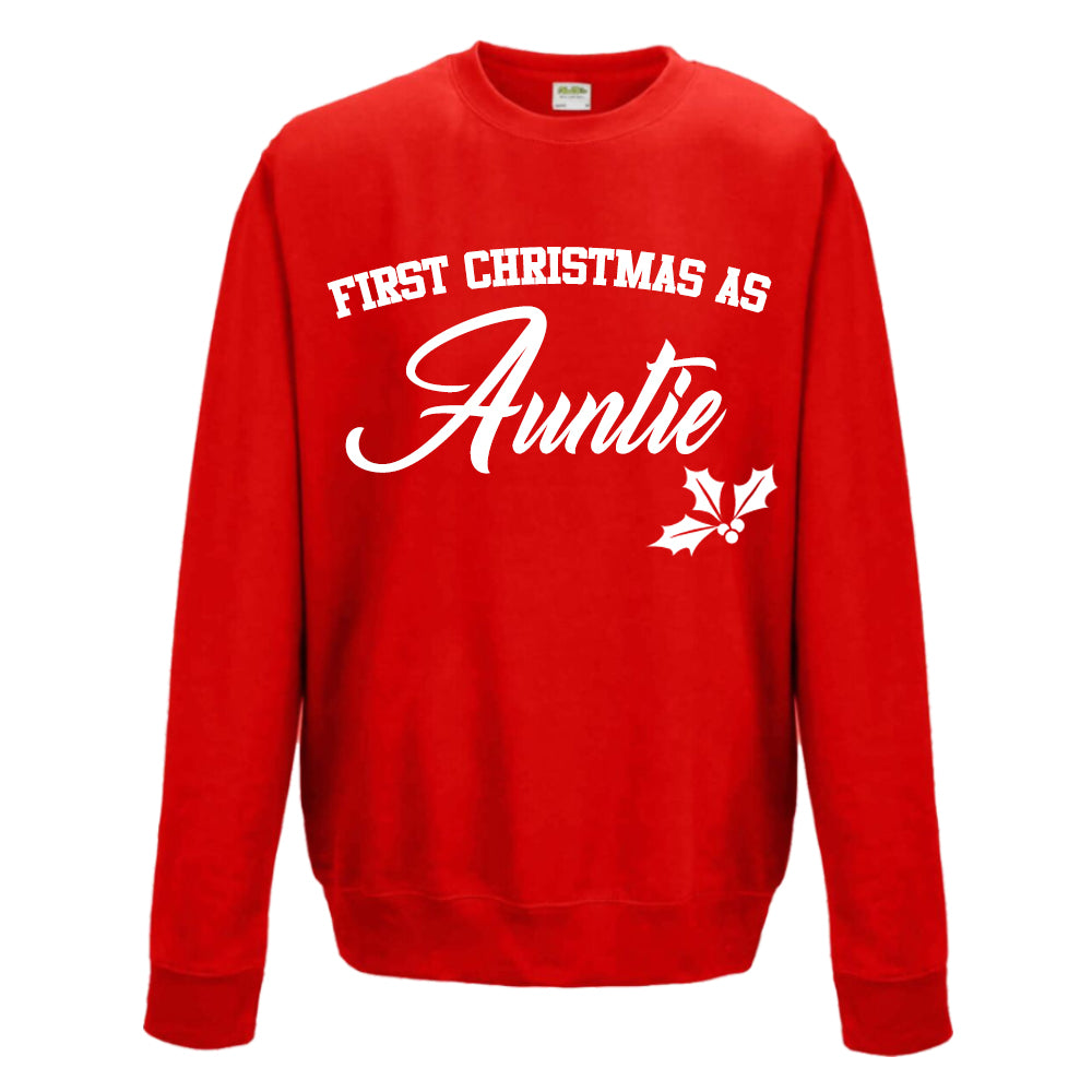 First Christmas As Auntie Classic Script Red Sweatshirt (MRK X)