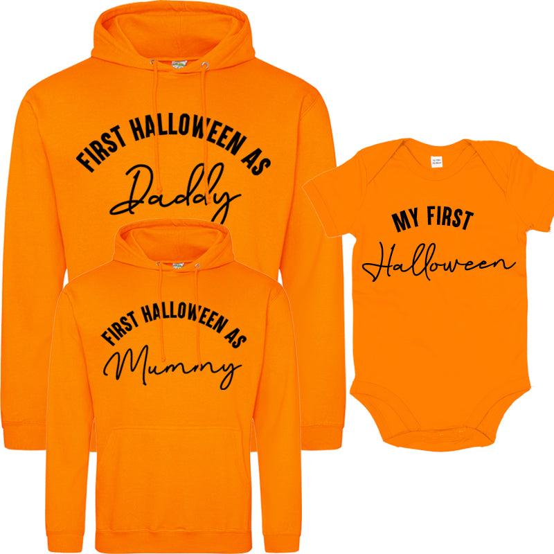 First Halloween As Family Script Orange Hoodies & Bodysuit (MRK X)