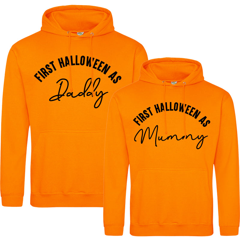 First Halloween As Mummy & Daddy Script Orange Hoodies (MRK X)