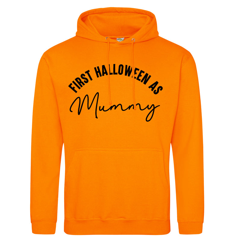 First Halloween As Mummy Script Orange Hoodie (MRK X)