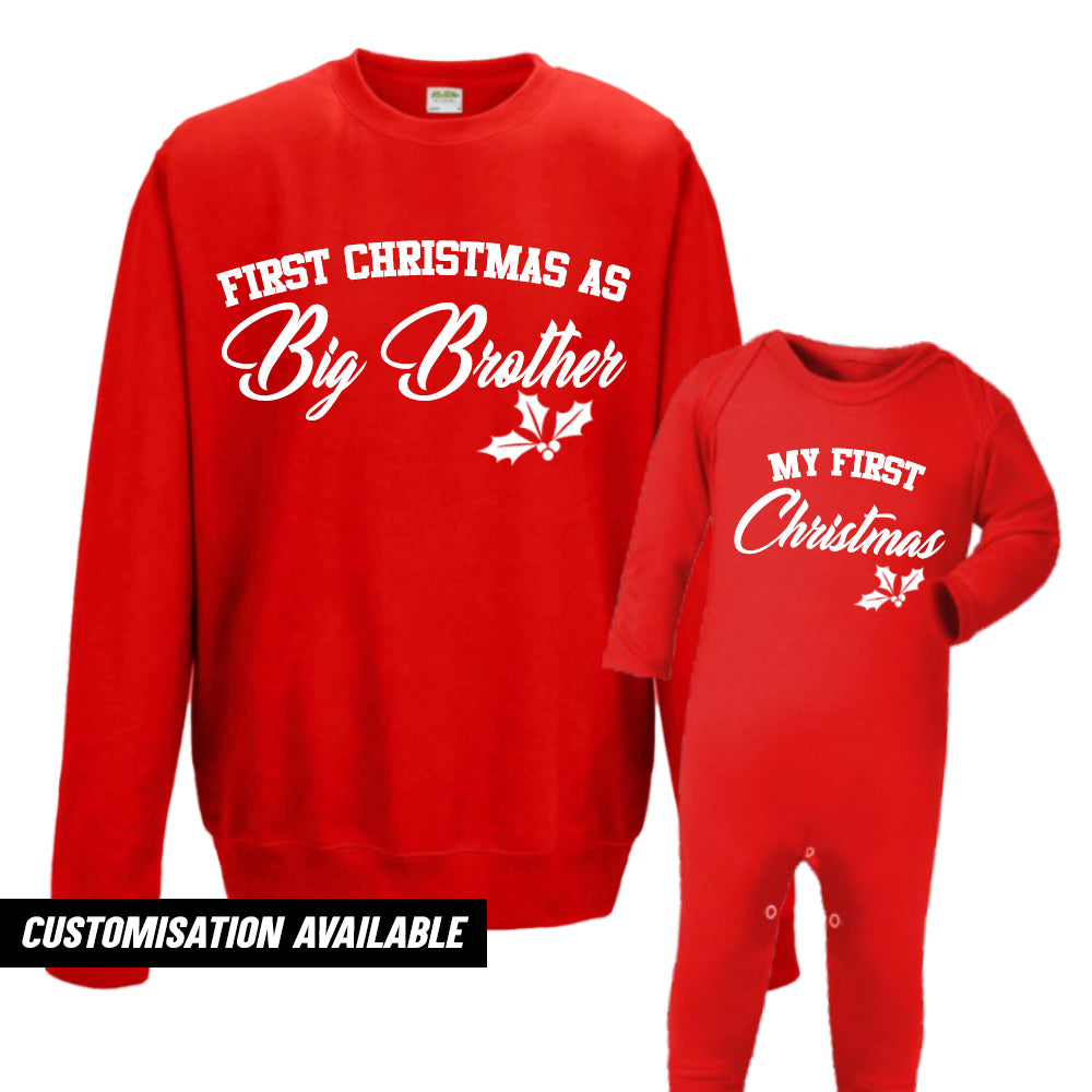 First Christmas As Brother Sweatshirt & Romper (MRK X)