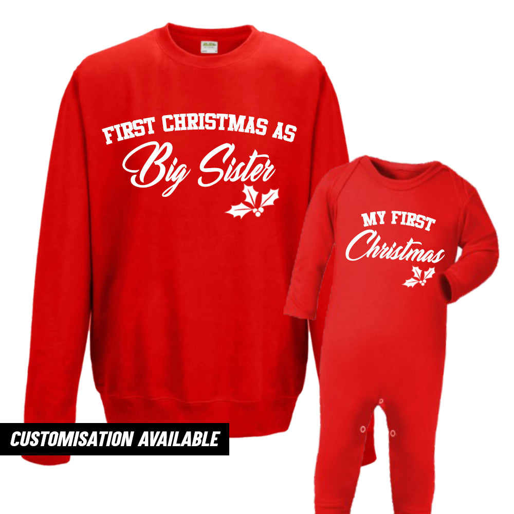 First Christmas As Sister Sweatshirt & Romper (MRK X)