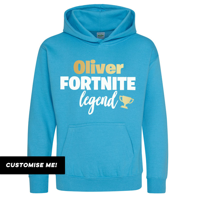 Personalised Fortnite Legend Kids Hoodie (MRK X)