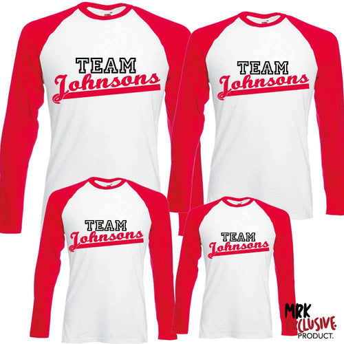 Personalised Family 'Team' Matching Raglan Tops (MRK X)