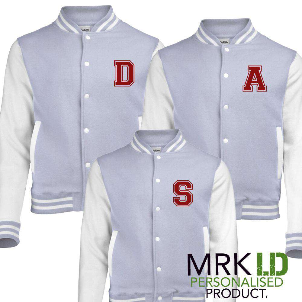 Personalised Initial Family Matching Baseball Grey Jackets (MRK X)