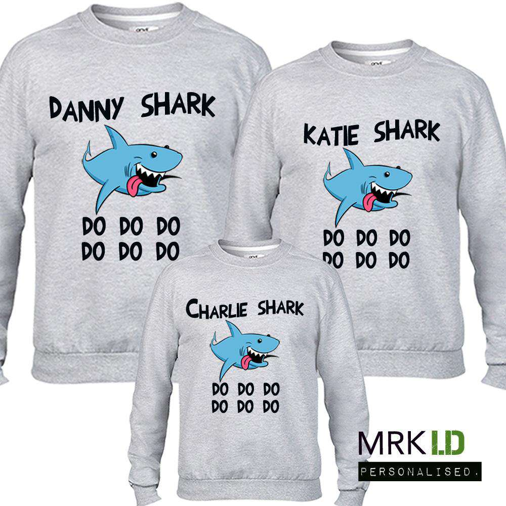 Personalised Family Matching Shark Grey Sweaters (MRK X)