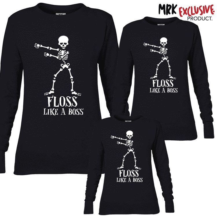 Flossing Skeleton Family Crew Sweats - Black - (MRK X)