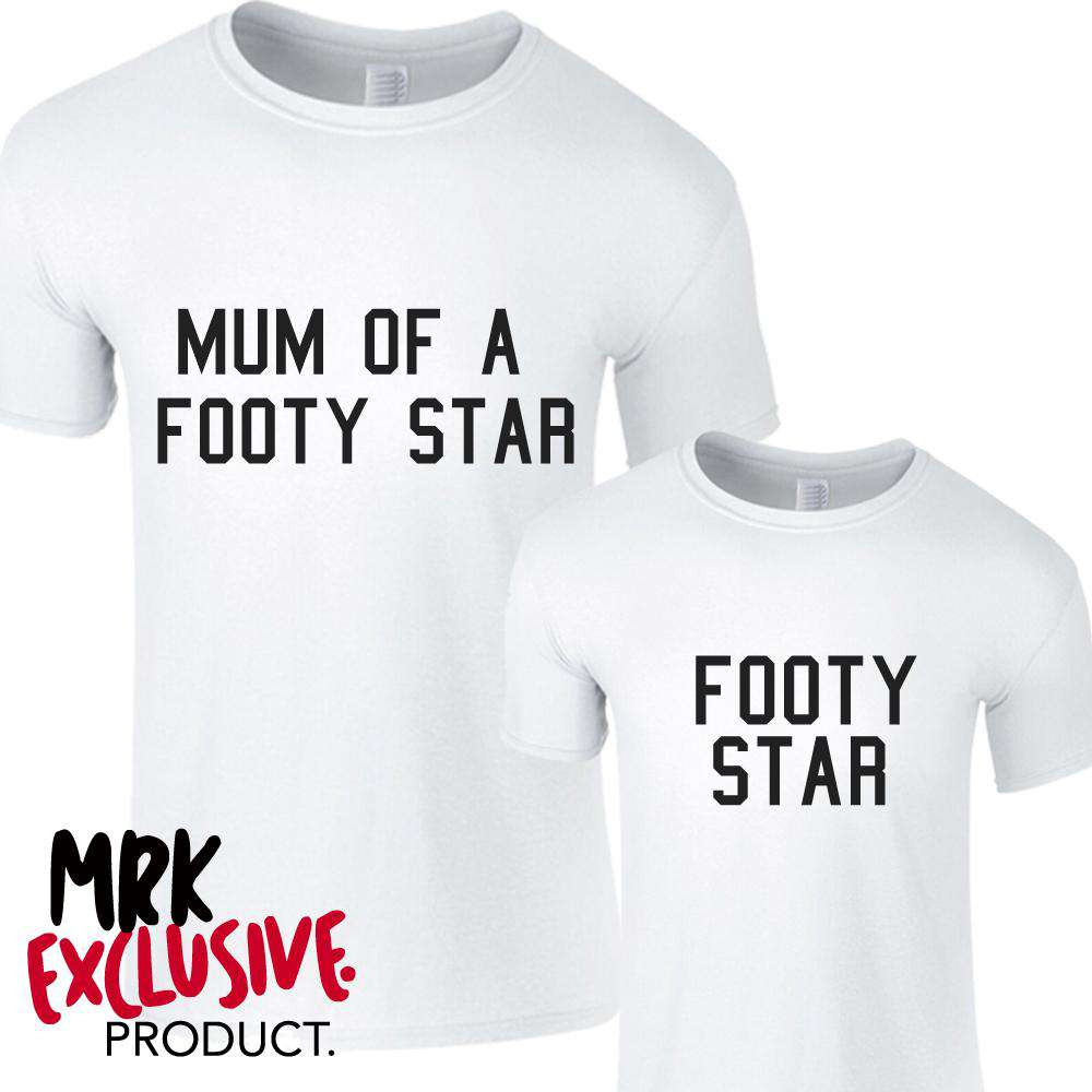 Matching Footy Star White Tees (MRK X)