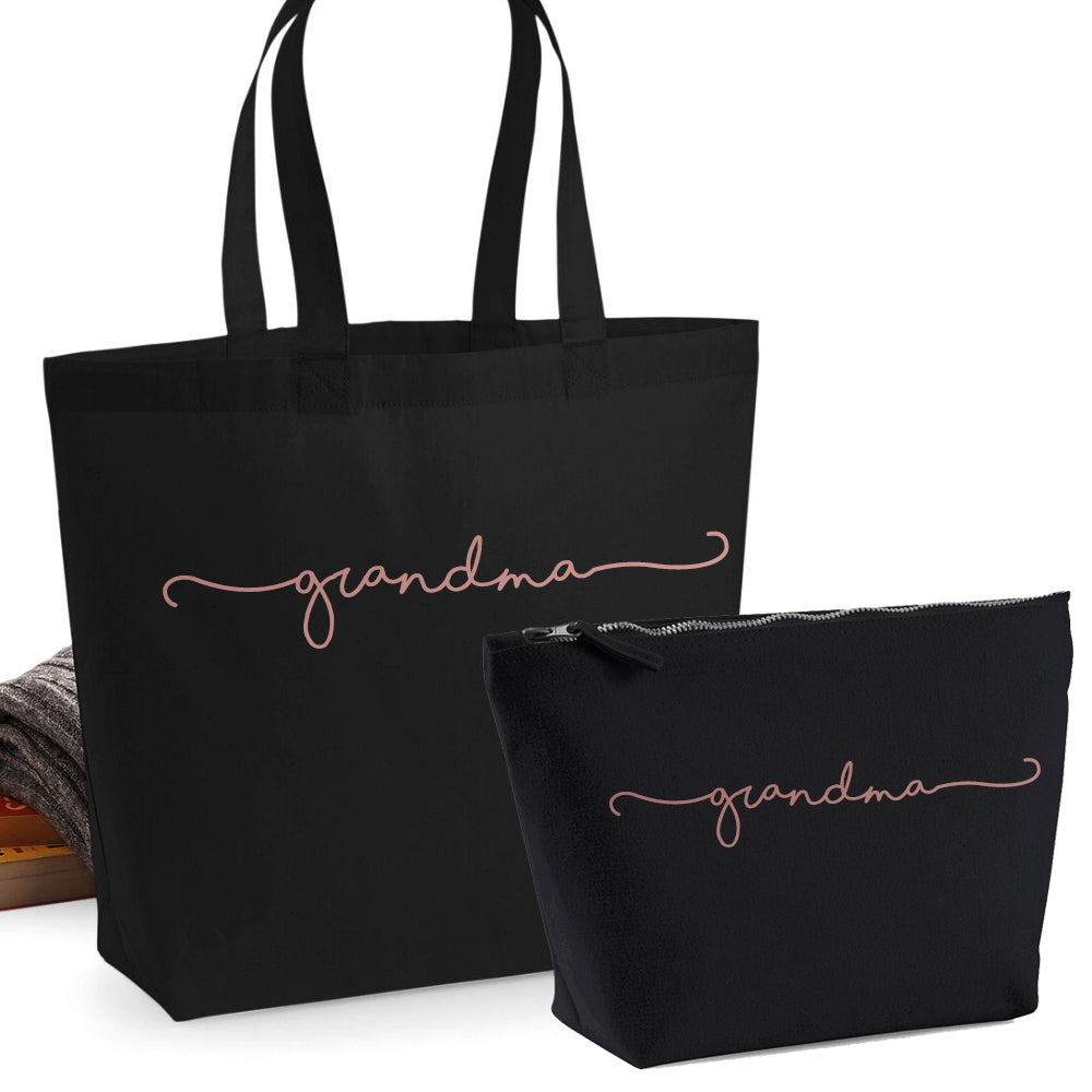 Grandma Retro Script 2 Piece Tote & Accessory Bag Set (MRK X)