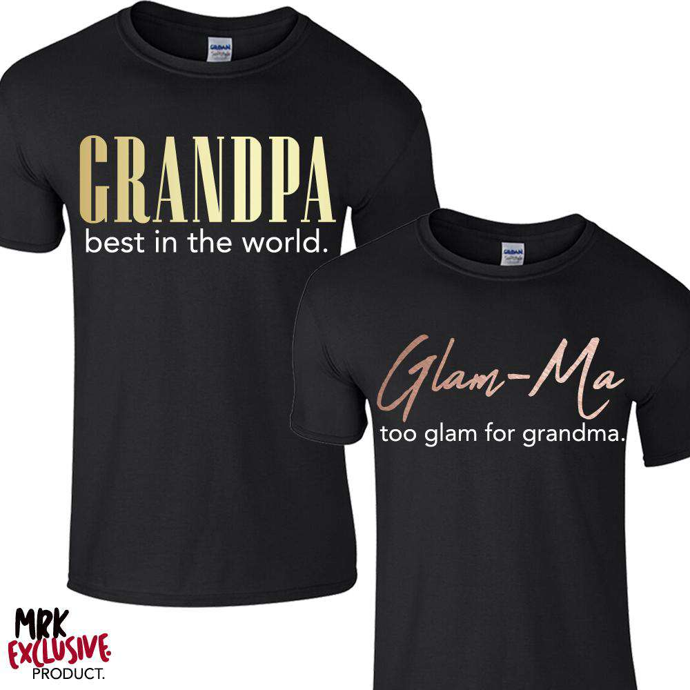 Glam-Ma & Best Grandpa Matching Black Tees (MRK X)