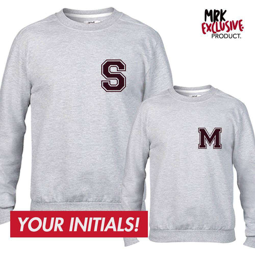 Personalised Adult & Kid Small Initial Matching Grey Sweaters (MRK X)