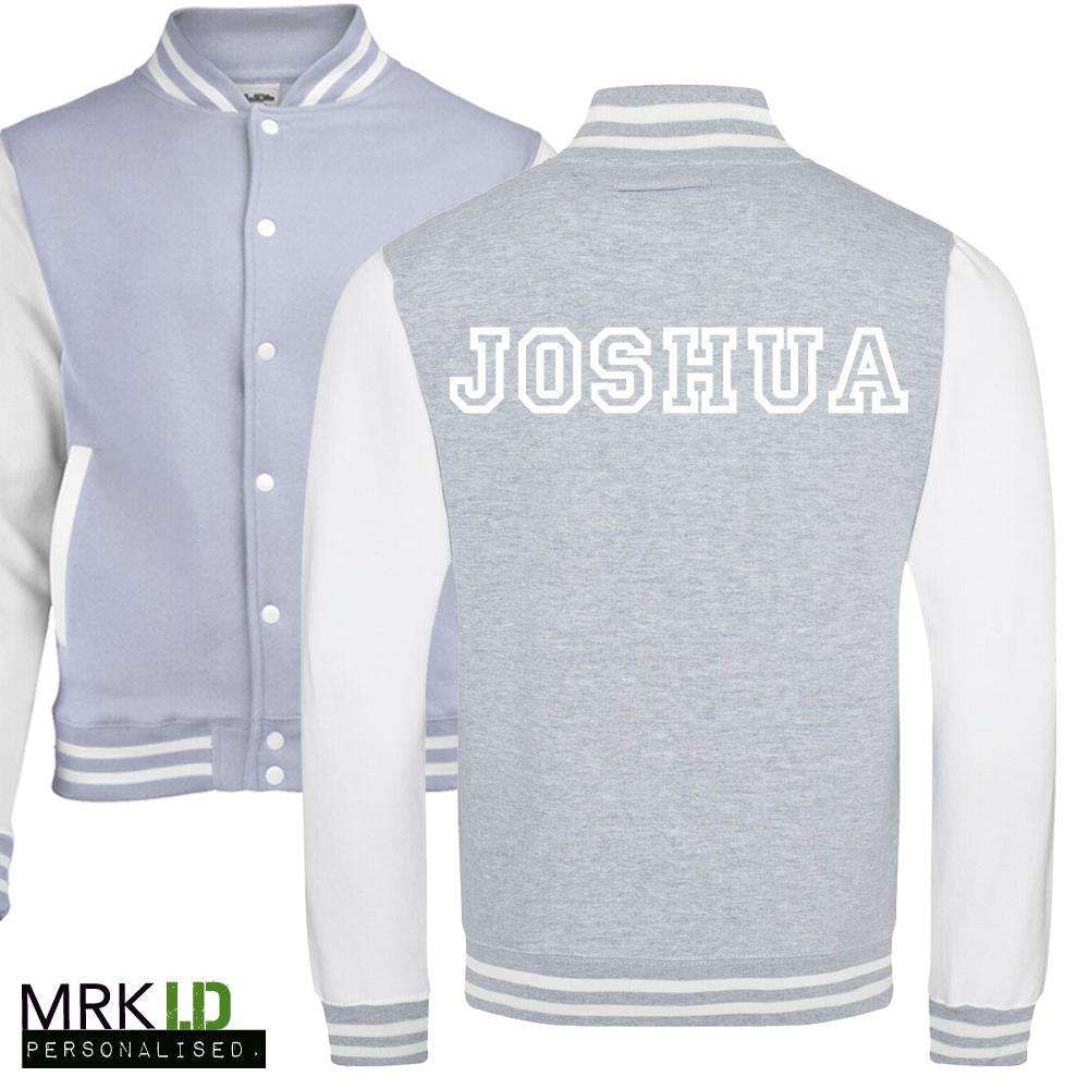 Personalised Collegiate Grey/White Baseball Jacket (MRK X)