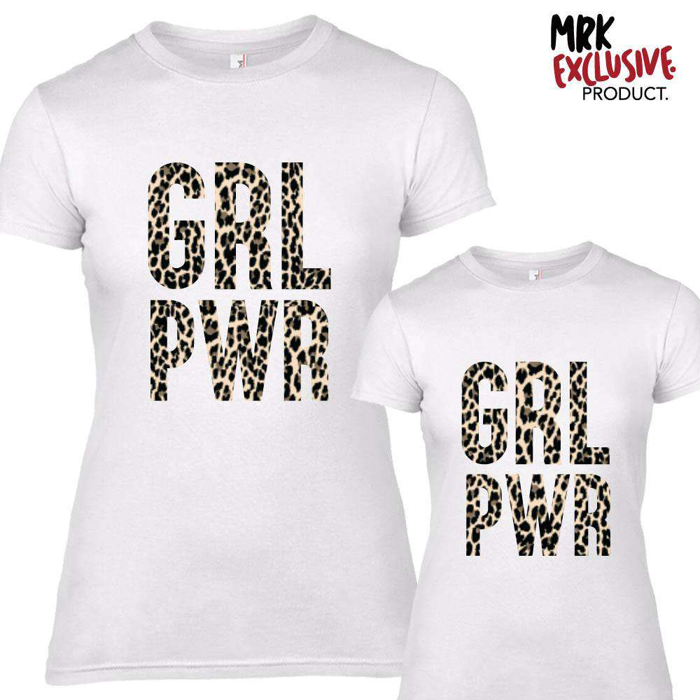 GRL PWR Adult & Kid Matching Tees White/Leopard (MRK X)