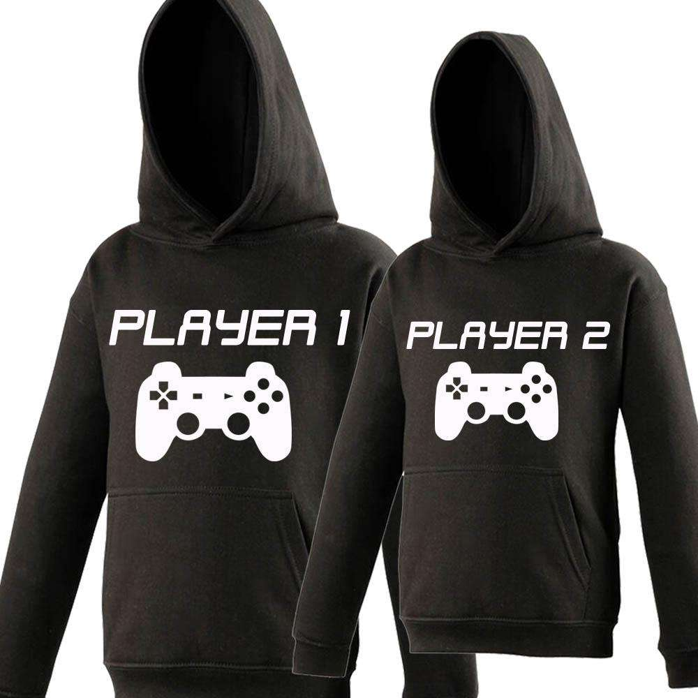 Player 1/Player 2 Dad & Kid Matching Hoodies (MRK X)