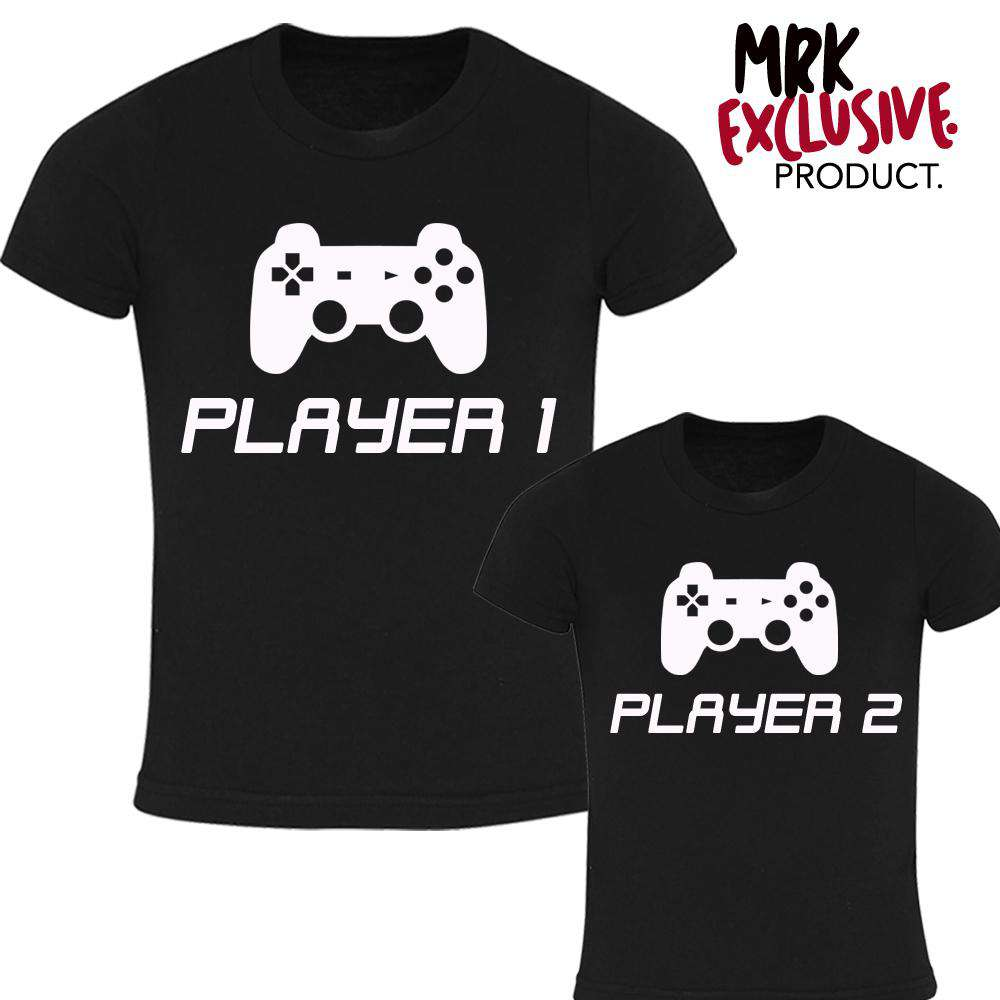 Matching Dad & Kid Black Player 1 & 2 Tees (MRK X)