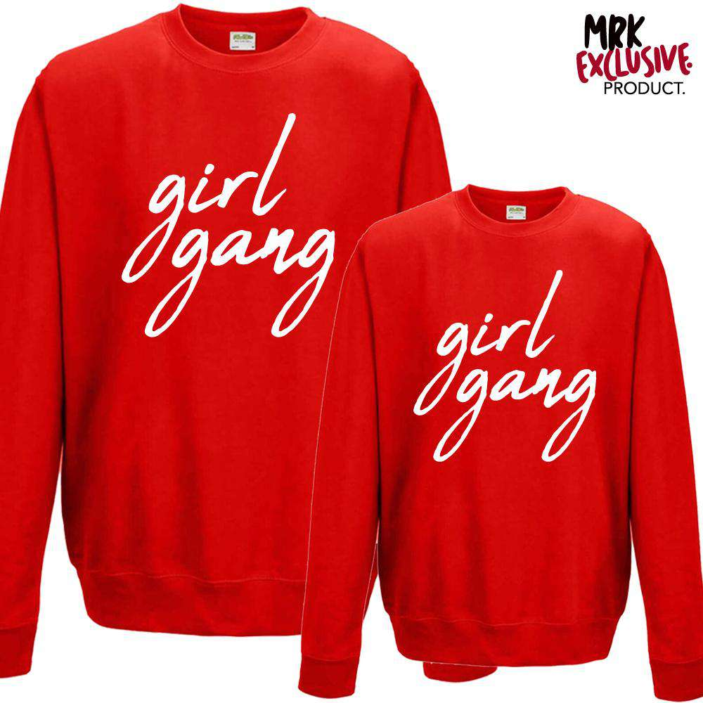 Girl Gang Women & Kid Fire Red/White Matching Sweaters (MRK X)