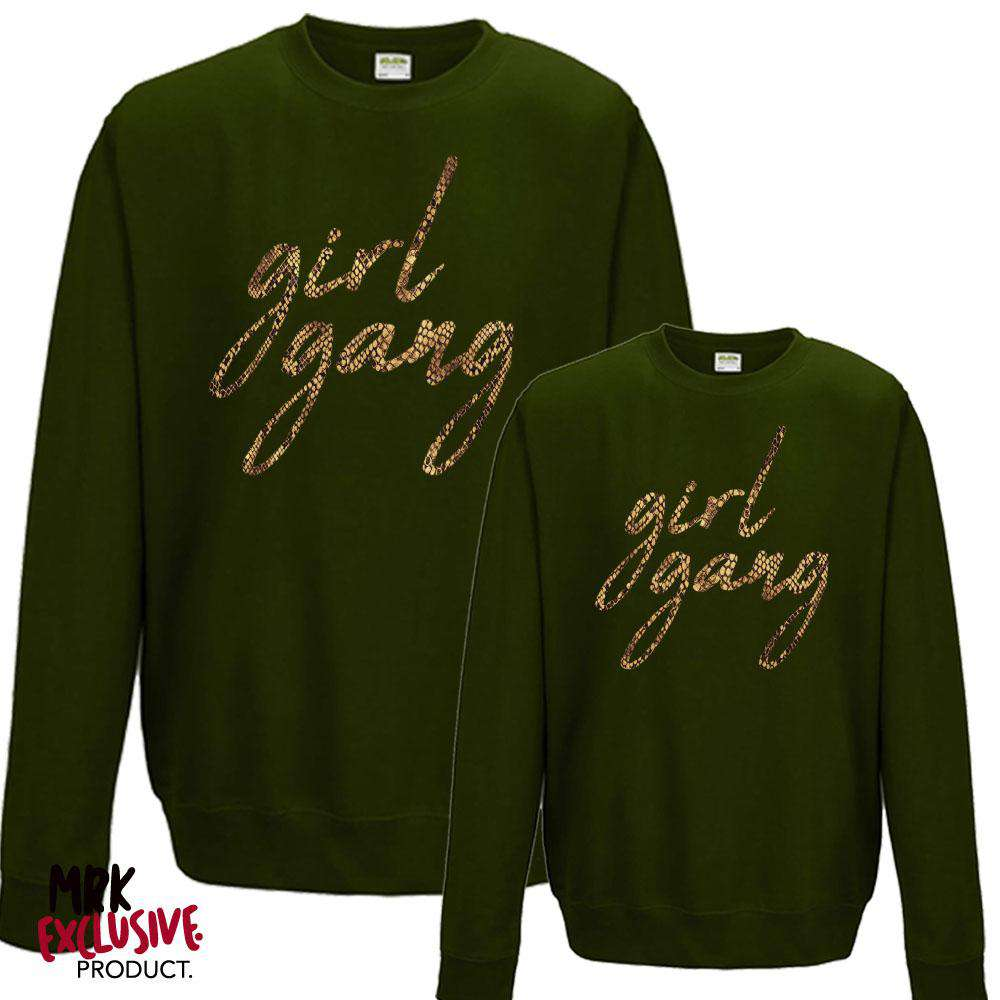 GIRL GANG Mummy & Kid Matching Forest Green/Snakeskin Sweaters (MRK X)