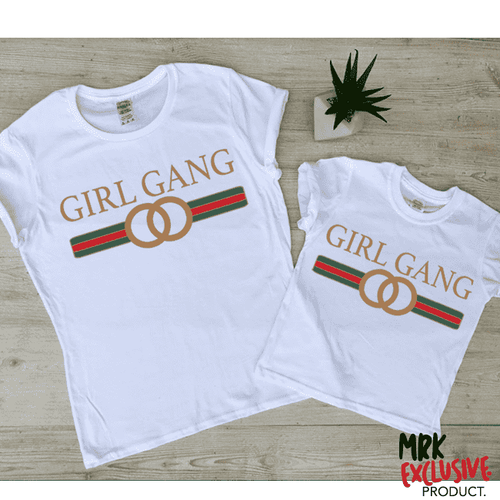 Girl Gang Circle Matching Tees - White (MRK GLD)