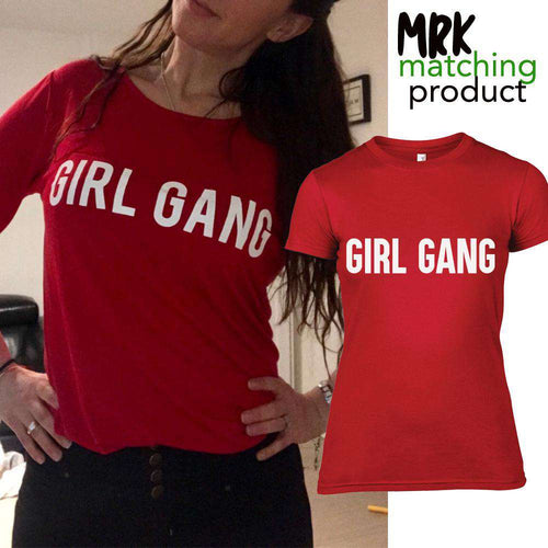 GIRL GANG BLOCK Red Crew Matching Tee's (MRK X)