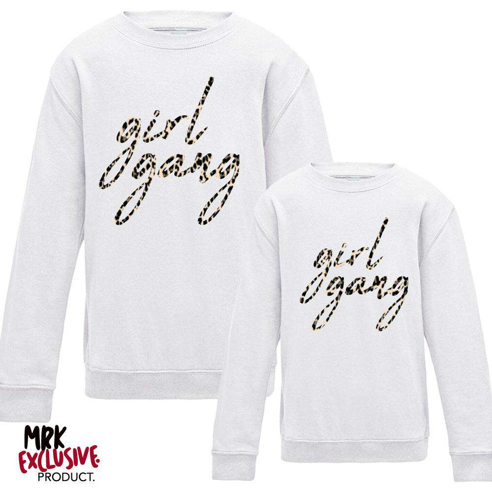 GIRL GANG Mummy & Kid Matching White/Leopard Sweaters (MRK X)
