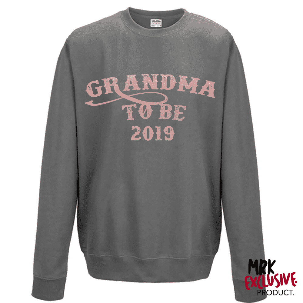 Personalised Year Grandma To Be - Storm/Rose Gold Sweater (MRK X)