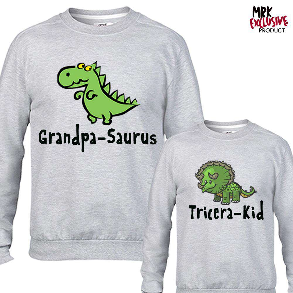 Grandpa-Saurus & Kid Matching Light Grey Sweaters (MRK X)