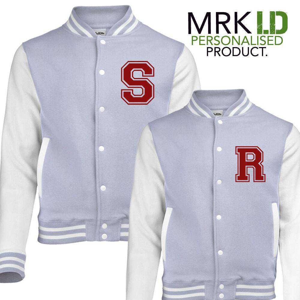 Personalised Initial Adult/Kid Matching Grey Baseball Jackets (MRK X)