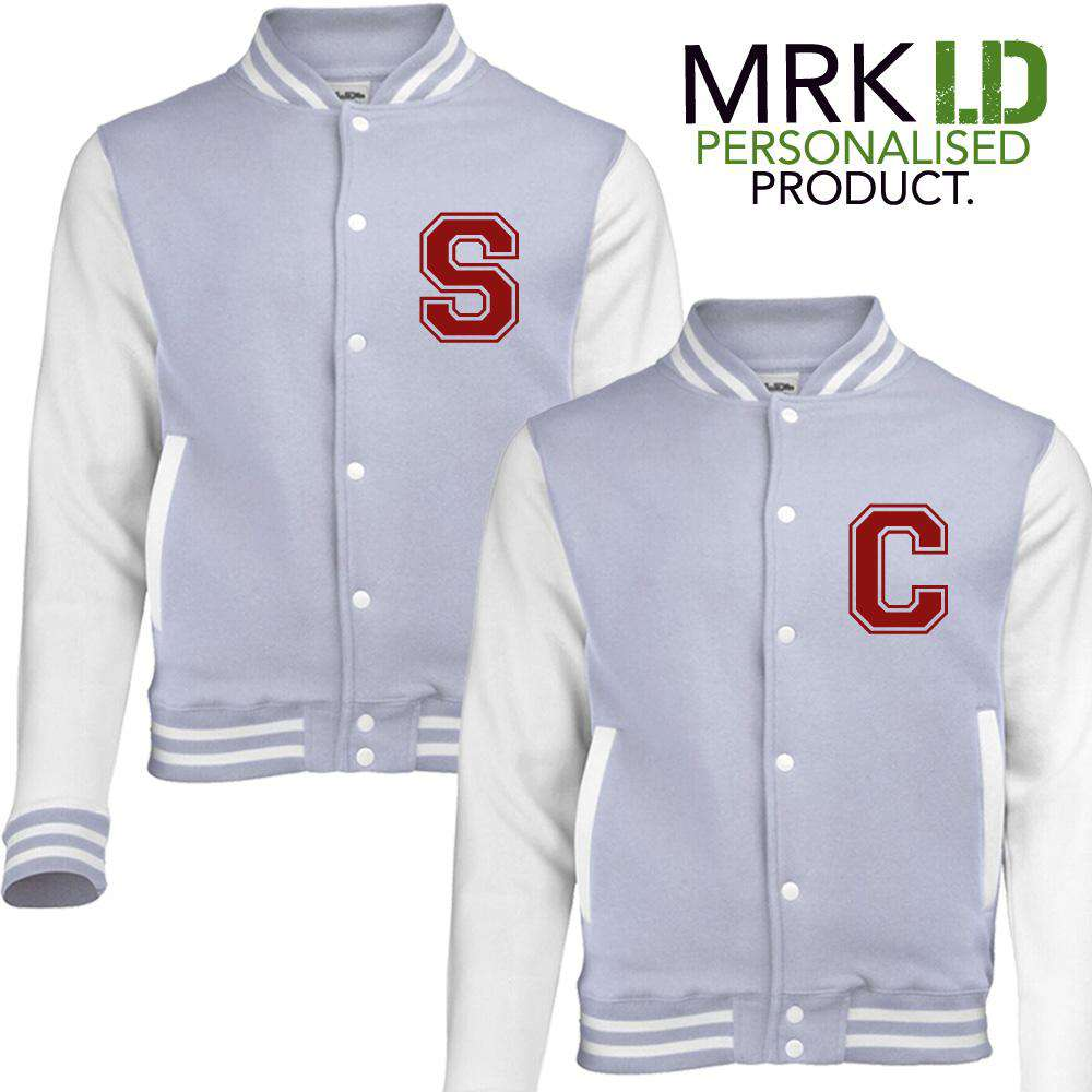 Personalised Initial Kids Matching Grey Baseball Jackets (MRK X)