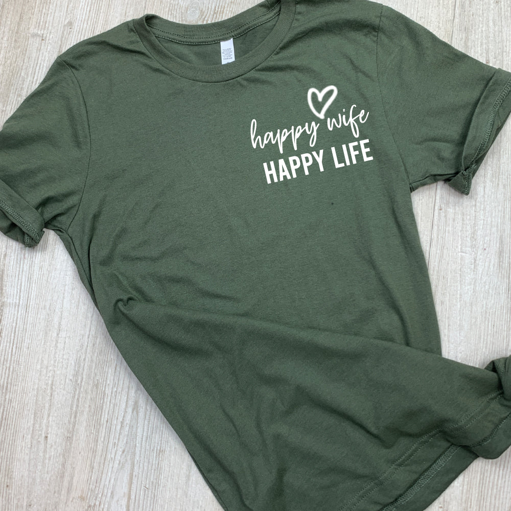 Happy Wife Happy Life Heather Tees (MRK X)