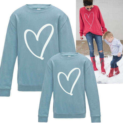 Heart Print Family Matching Sweaters bl (MRK X)